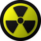 Nuclear warning symbol illustration — Vector de stock