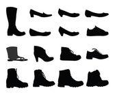 鞋子剪影 — Stockvektor