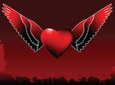 Winged Valentines Day Heart — Stok Vektör