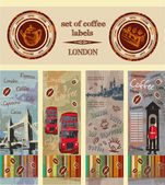 Set of coffee labels, London — Stock Vector