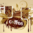 Vector coffee background, grunge frame, cups — Stock Vector