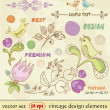 Vector set. vintage design elements. Hand Drawn floral ornaments with flowers and birds - Stock Vector