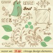 Vector set. vintage design elements. Hand Drawn floral ornaments with flowers and birds — Stock Vector