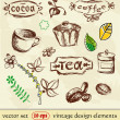 Hand Drawn. Coffee and tea. vintage design elements. — Stock Vector