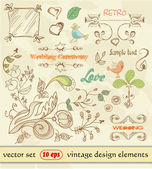 Hand Drawn floral ornaments. vintage design elements. wedding. Love elements — Stock Vector