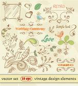 Hand Drawn floral ornaments. vintage design elements. wedding. Love elements — Stock Vector