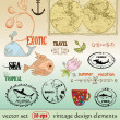 Hand Drawn. travel, vacation and exotic. vintage design elements. set. — Stock Vector #10197402