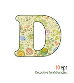 Decorative letters of the flowers and birds, alphabet, font — Stock Vector