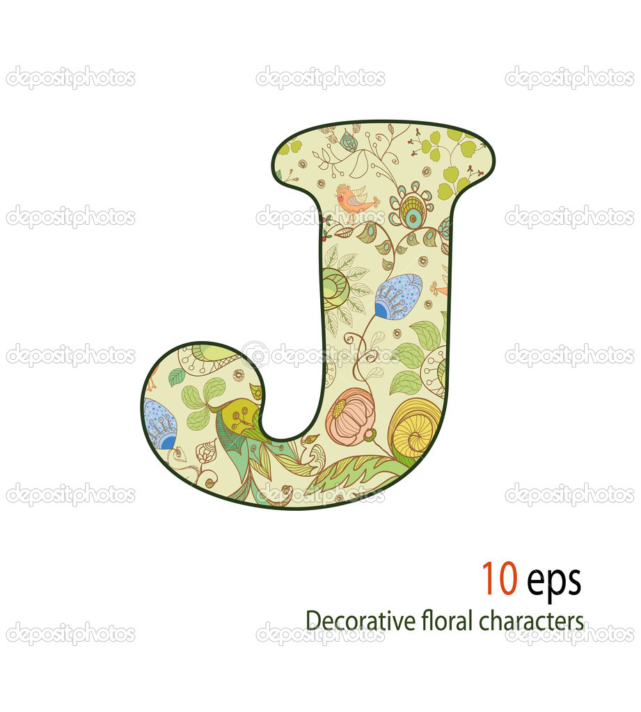 Decorative letters of the flowers and birds, alphabet, font  — Stock Vector #10477989