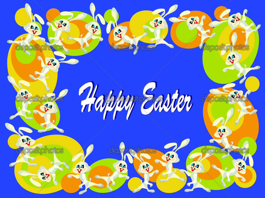 Easter background with bunnies — Stock Vector #9440968