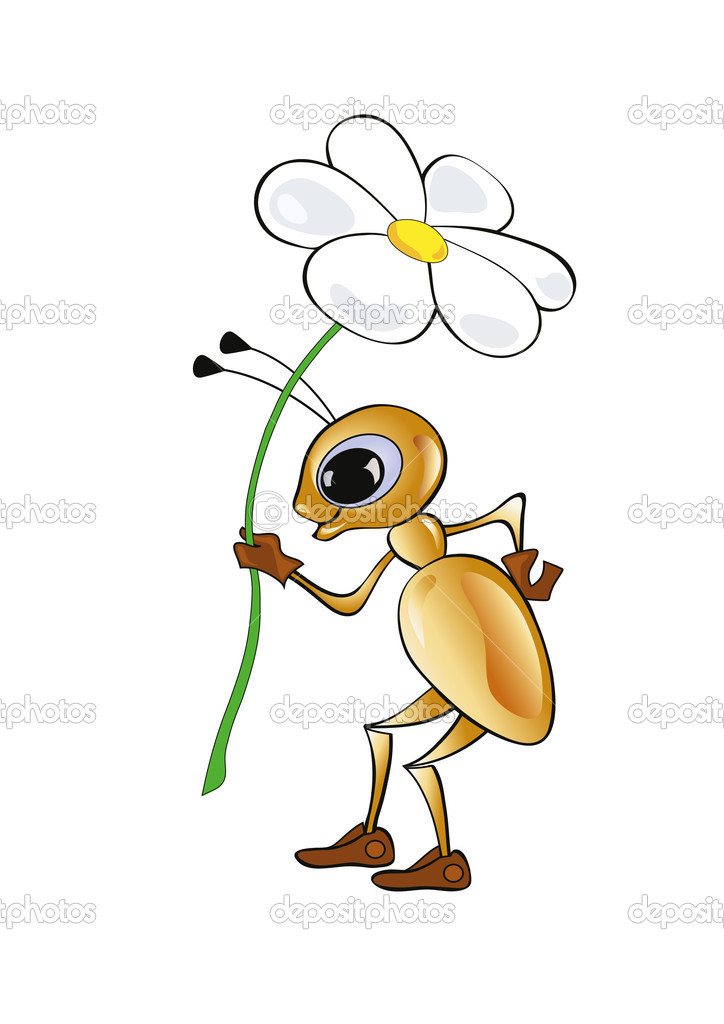 Ant with a flower — Stock Vector #9440985