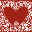 Heart with floral design — Stock Vector