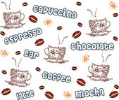 Coffee - Vector, seamless pattern — Stock Vector