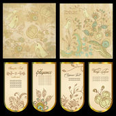 Vintage, decorative background with floral patterns and birds. — Stock Vector