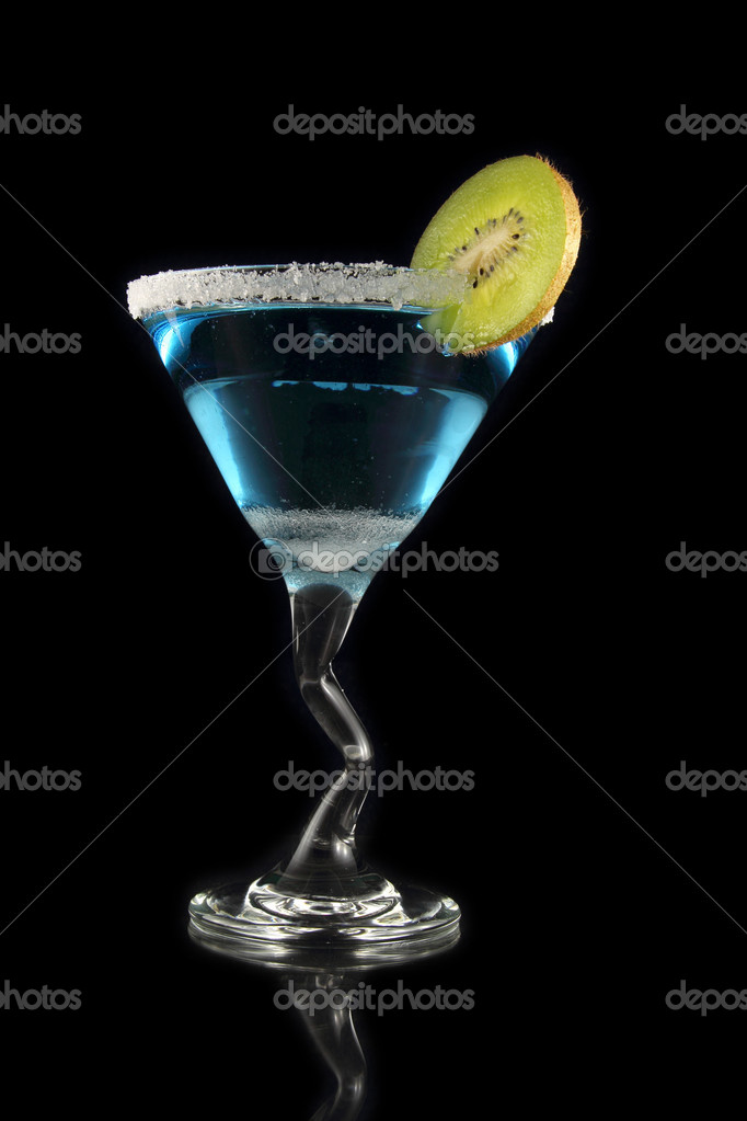 Blue martini drink on black background — Stock Photo #10665651