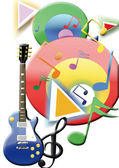 Guitar with color — Stock Photo