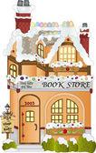 Gingerbread Village Book Store — Stock Vector