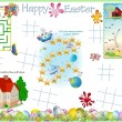 Stock Vector: Activity Table Placemat - Easter 7