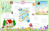 Placemat Easter Printable Activity Sheet 7 — Stock Vector
