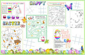 Placemat Easter Printable Activity Sheet 2 — Stock Vector