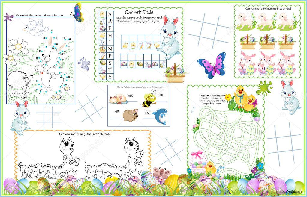 Placemat Easter Printable Activity Sheet 5 — Stock Vector ...