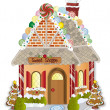 Stock Vector: gingerbread village candy shoppe