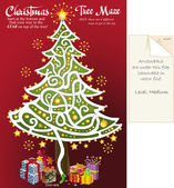 Christmas tree maze puzzle 2 — Stock Vector