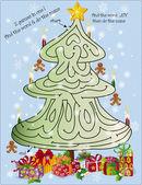 Kerstboom doolhof puzzel 1 — Stockvector