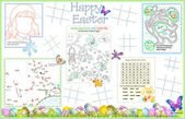 Placemat Easter Printable Activity Sheet 3 — Stock Vector