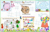 Placemat Easter Printable Activity Sheet 6 — Stock Vector