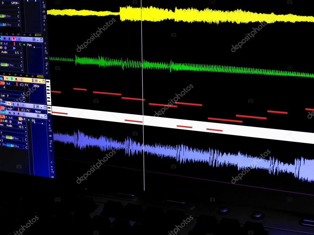 Screen view of a digital audio workstation showing sound wave and MIDI data tracks. — Stock Photo #9686853