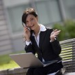 Young adult businesswoman working outdoors — Stock Photo #9638063
