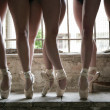 Dancers legs shooted in an abandoned location location — Stock Photo