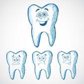 Tooths Set. Vector illustration — Stock Vector