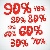 Vector discount percents — Stock Vector