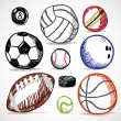 Ball Sport Doodles — Stock Vector