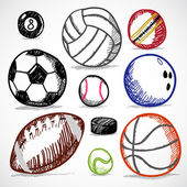 Ball Sport Doodles — Stock Vector