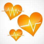 Heart and heartbeat vector symbols — Stock Vector