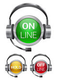 Vector call-center buttons — Stock Vector