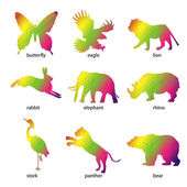 Colorful abstract animal icons — Stock Vector