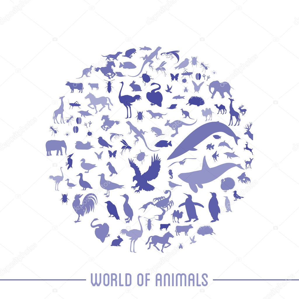 Blue globe outline made from birds, animals icons — Stock Vector #10630400