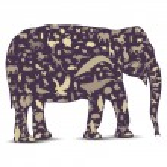 elefante globo contorno feito de ícones de animais — Vetorial Stock