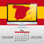 Calendar. With map of countries — Stock Vector