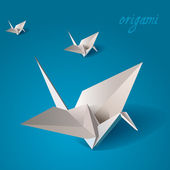 Crane bird origami vector — Stock Vector