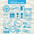 Stock Vector: Vector set of stamps and postmarks.