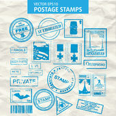 Vector set of stamps and postmarks. — Stock Vector
