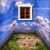 Fantasy room scenery with clouds, town and window — Stock Photo