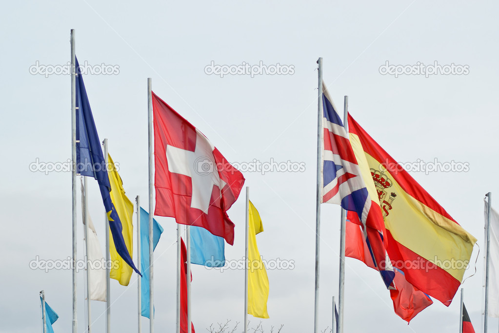 United flags of european states, dominant swiss, great britain and spain — Stock Photo #9985704