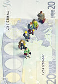 Miniature queue twenty euros — Stock Photo