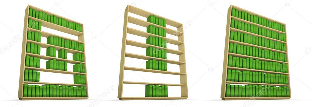 3D render of books on shelves forming alphabet — Stock Photo #10541169